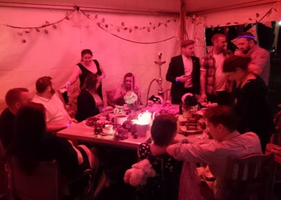 Mad Hatters Tea Party Event Setup with Shisha Pipe, Table & Chairs